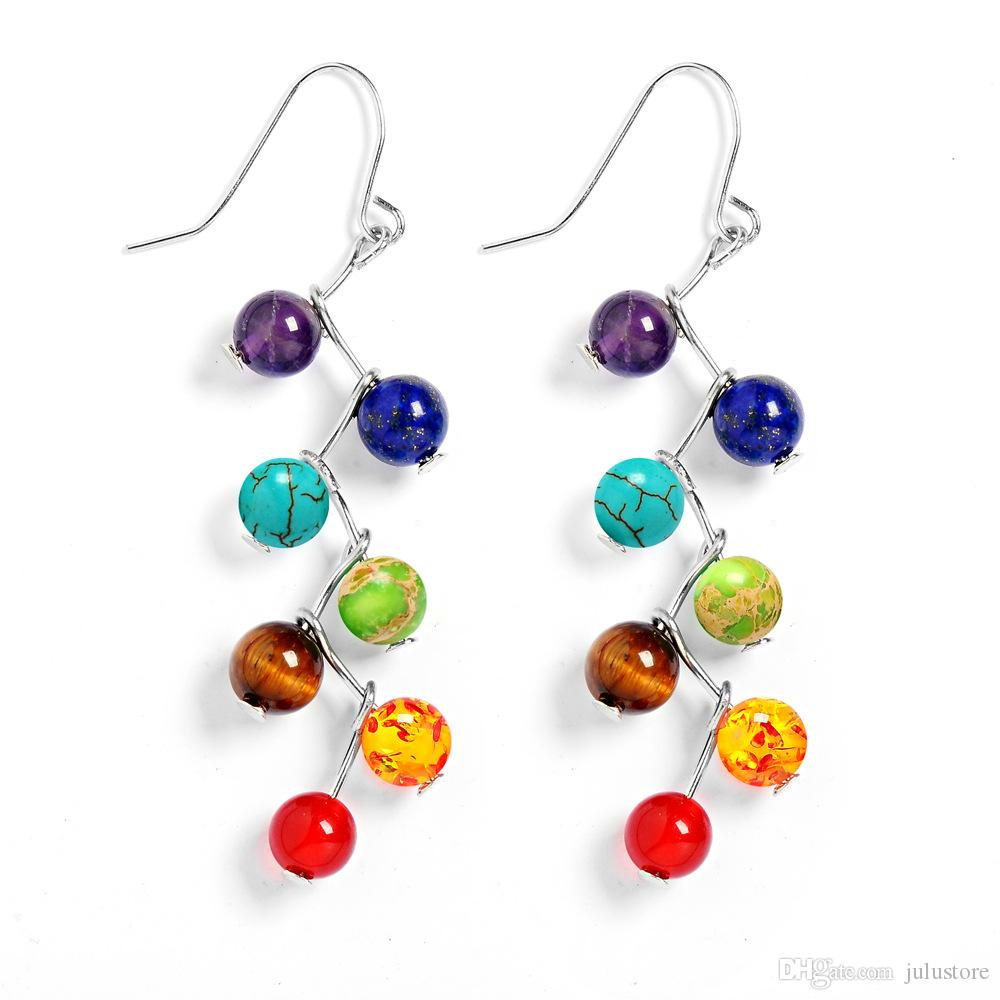 6mm Amethyst Tiger Stone Agate Natural Stone 7chakra Beads Earrings Yoga Jewelry Fashion Long Tassel Women Dangle Earrings boucle d'oreille