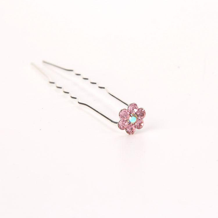 10 Adet Kristal RHINESTONE U şekilli Tokalar Düğün Gelin Saç Balo Pins Pin Küçük Boyutu Çok Renkli