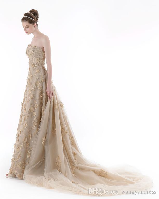 2017 Encantador Champagne apliques vestido de novia lentejuelas pecho sin mangas de la gasa tribunal tren colorido vestido de novia de tul