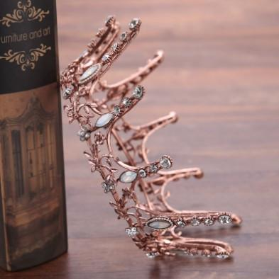 Baroque Bridal Crown Tiara Antique Gold Crystal Decorated Wedding Hair Accessories Hair Jewelry Bridal Head Pieces