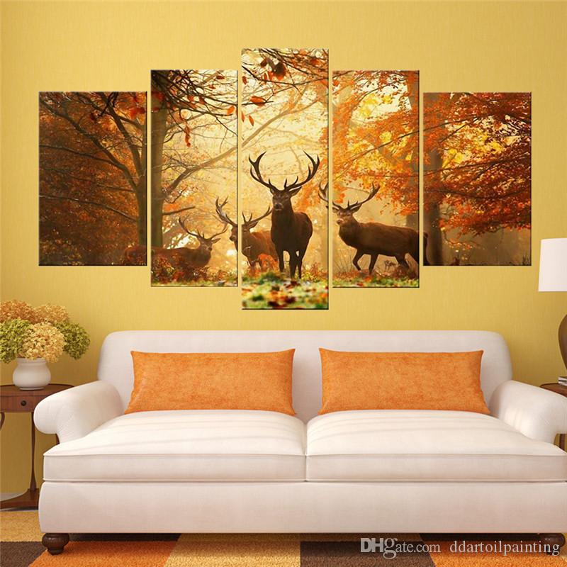 wholesale Deer Pattern Oil Painting Wall Art Picture Modern Home Decor Living Room or Bedroom Canvas Print Painting unframed