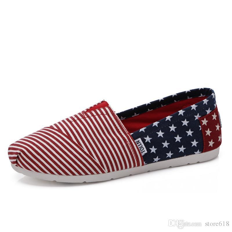 Amantes de la bandera americana zapatos de paja Pareja de zapatos casuales Hombres mujeres holgazanes zapatos de lona perezosos de los hombres al por menor 35-45