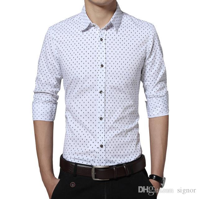 b05b0f6f945a7 New Fashion Men s Shirt Casual Trident Print Long Sleeve Shirt Mens ...