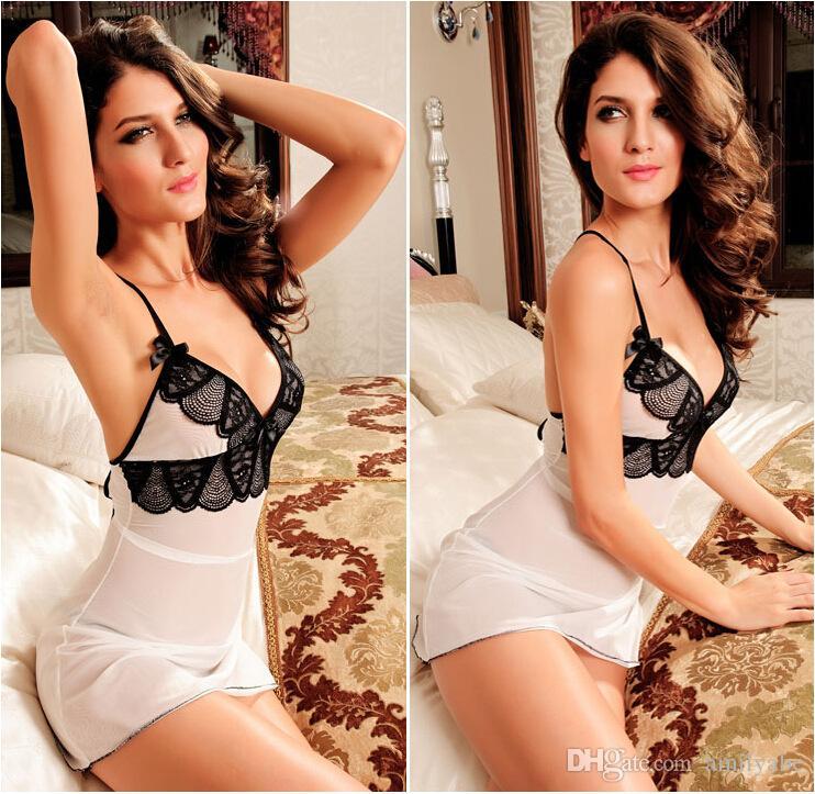Donne Babydoll Lingerie Sexy Pigiama Backless Lenceria Erotica Nightwear seducente Fantasie Disfrace Negligee Panty V-Neck donna Set