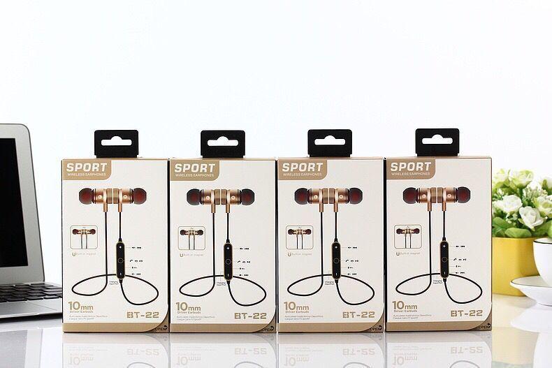 BT-22 Auricolari Bluetooth senza fili Cuffie Auricolari Musica stereo Sport da corsa Auricolari magnetici con funzione di riduzione del rumore vendita calda