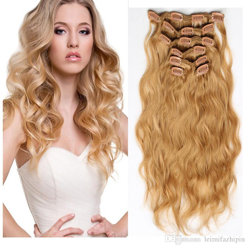 Resika Best Selling Women Curly Clip Inon Human Hair Extensions 613 Blonde 10pcsset 22clips Water Wave 100 Virgin Hair Extension Dyeable