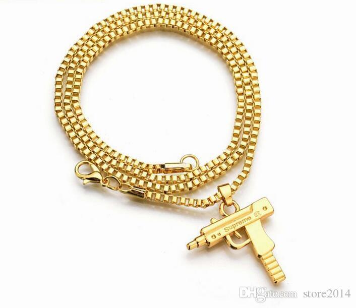 جديد عوزي الذهب سلسلة الهيب هوب قلادة طويلة قلادة الرجال النساء أزياء العلامة التجارية بندقية شكل مسدس قلادة ماكسي قلادة الهيب هوب مجوهرات
