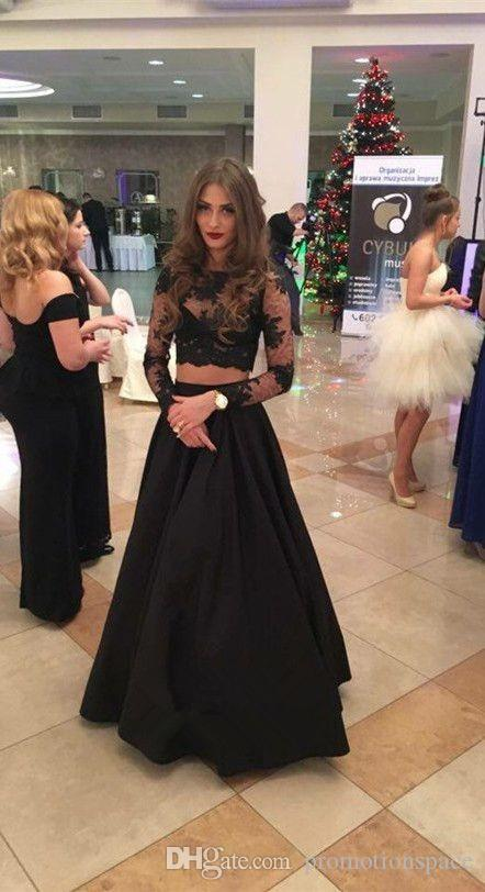 2017 New Sexy Black Two Pieces Prom Dresses Long Sleeves Lace Satin Formal Evening Gowns Sexy Sheer Illusion Prom Gowns For Teen