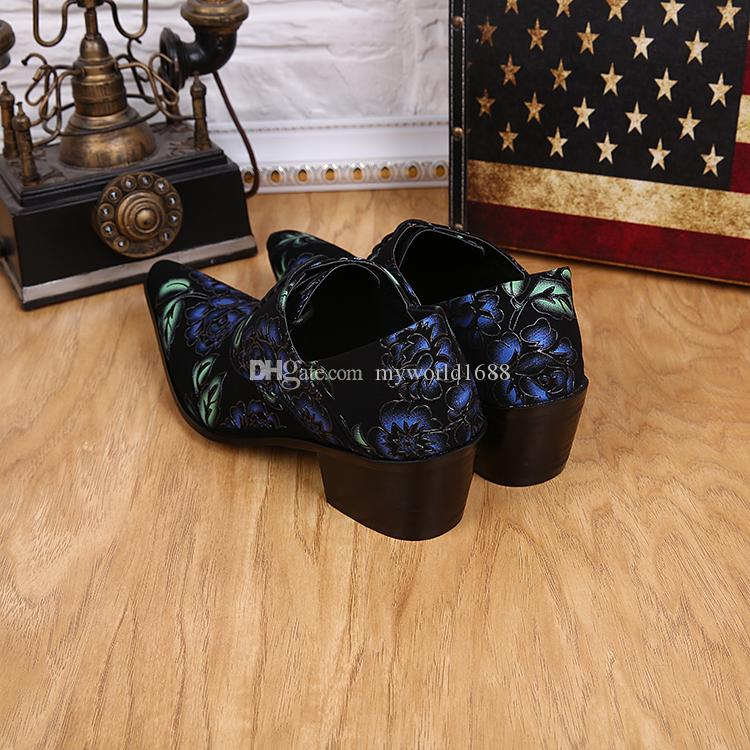 Hot Sale Cheap Price Pointed Toe British Lace Up Men Dress Shoes Flower Print Oxford Shoes For Men Party Plus Size Zapatos
