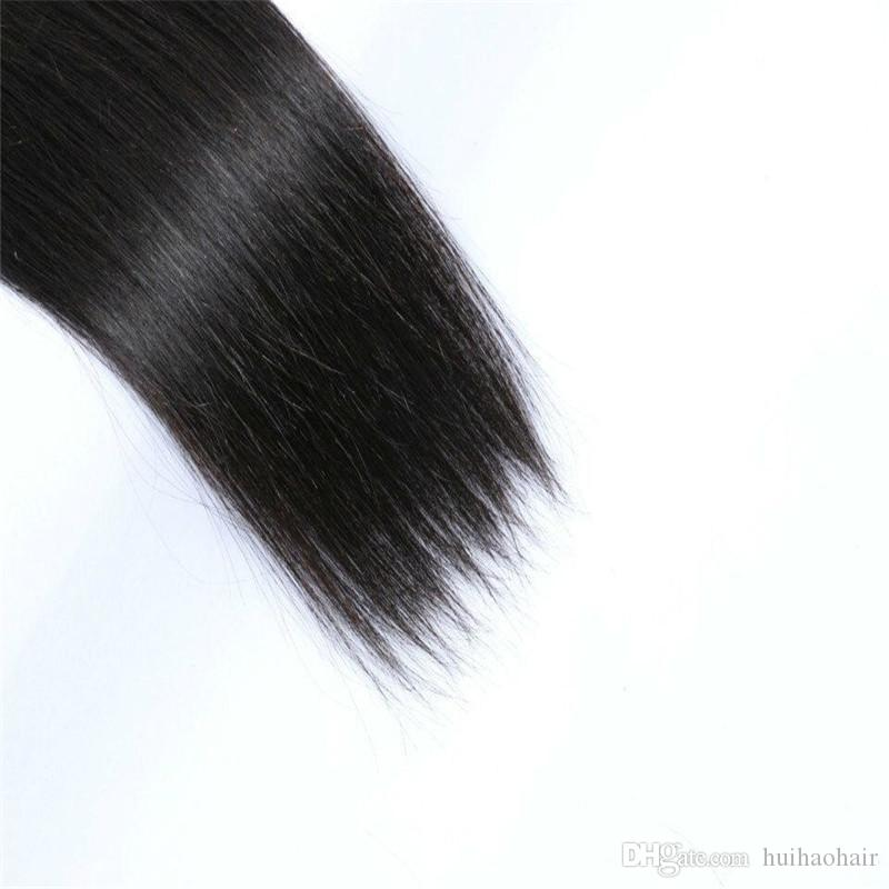 Lace Closure With Bundles Brazilian Hair Wefts Straight Hair Weaves With Closure Natural Color 8A