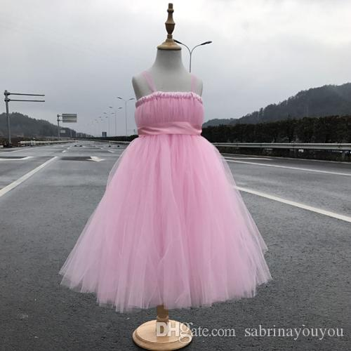 2017 New tutu black baby bridesmaid flower girl wedding dress tulle fluffy ball gown USA birthday evening prom cloth party dress