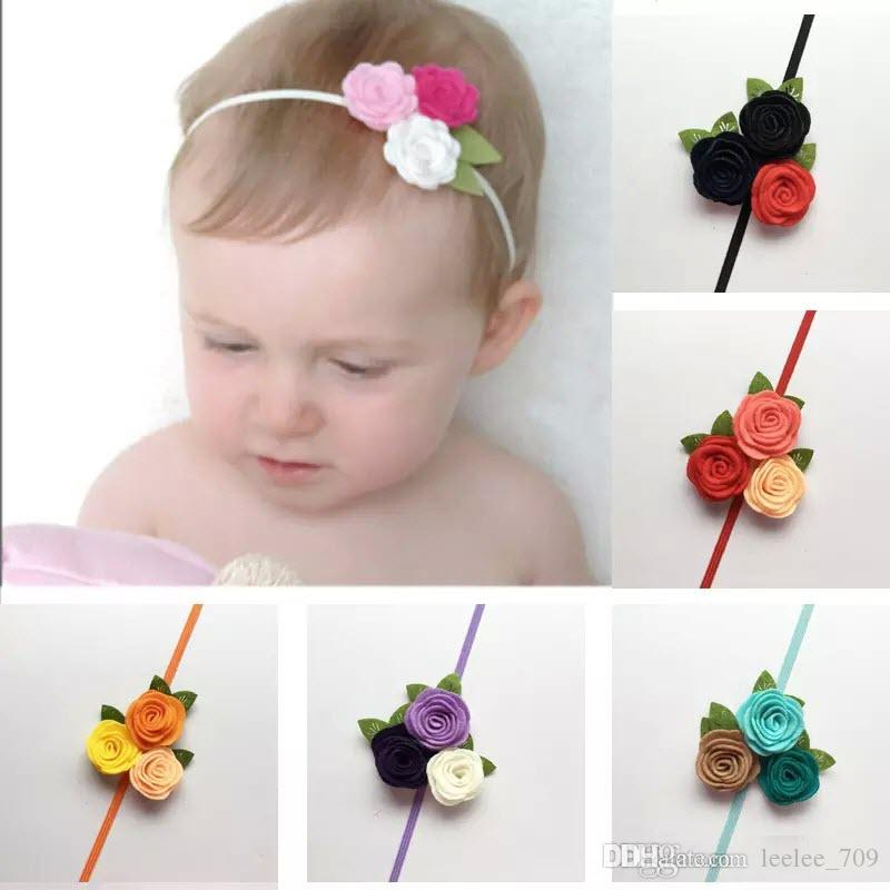 Triple Felt Rose Flower Headband For Kids Baby GirlChristmas Toddler Headwear Princess Photo Props Hair Accessories Bow Childrens Wedding