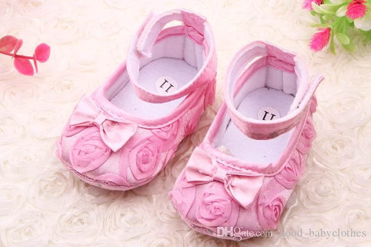 Fashion flower bow baby footwear first step neonatal soft soles baby bed shoes baby girl princess shoes
