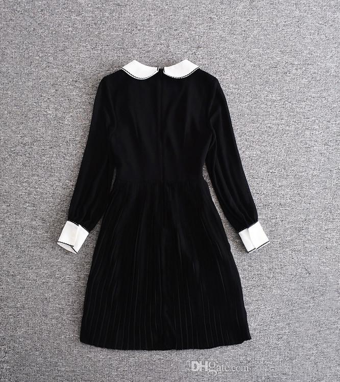 Mifairy 2017 Black Long Sleeves Peter Pan Collar Floral Embroidery Women Silm Dress Celebrity Style Dress high End Dresses 80208