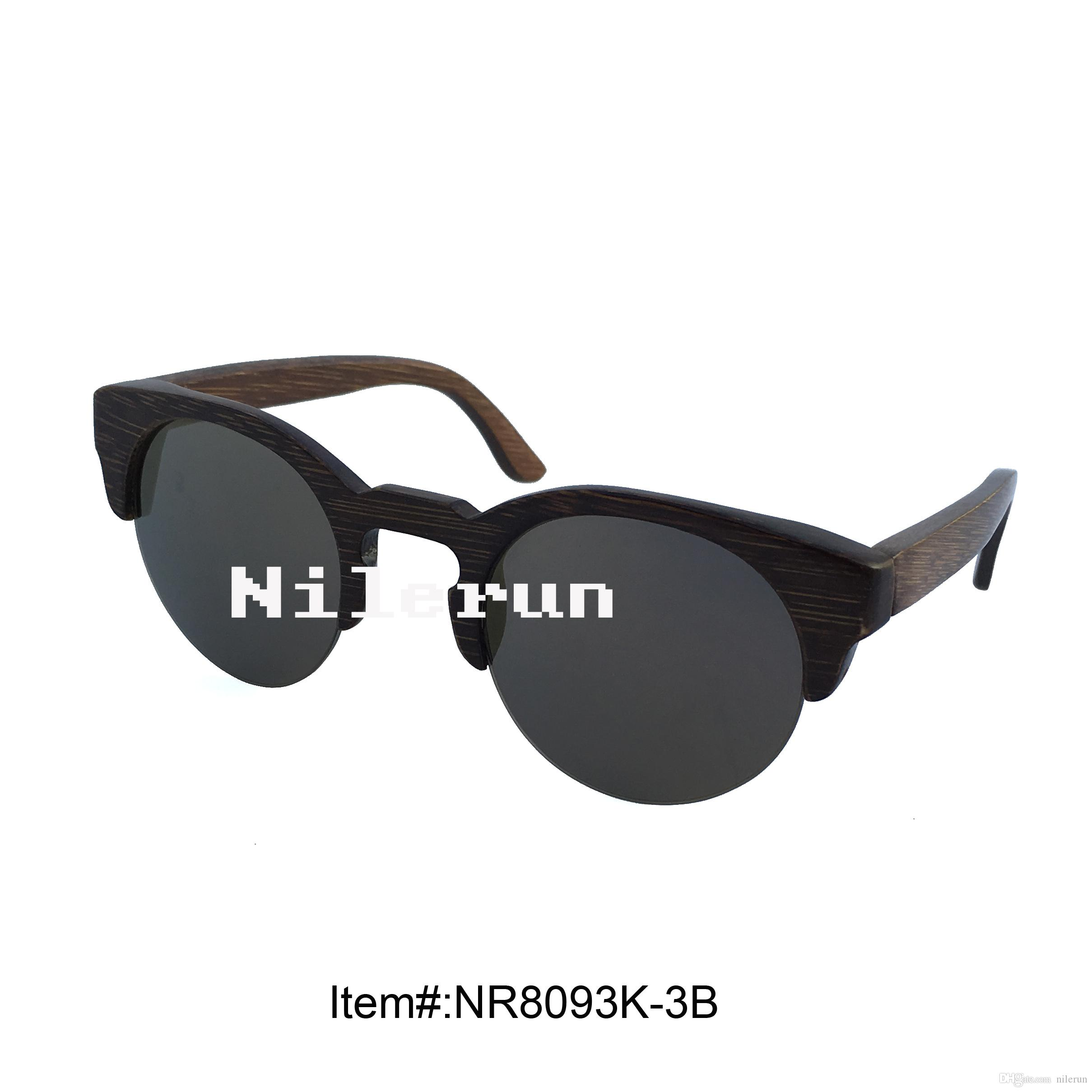 2de06fb37c Antique Round Brown Bamboo Half Frame Brown Polarized Lens Sunglasses Semi-rimless  Sunglasses Semi-rim Sunglasses Half Frame Sunglasses Online with ...