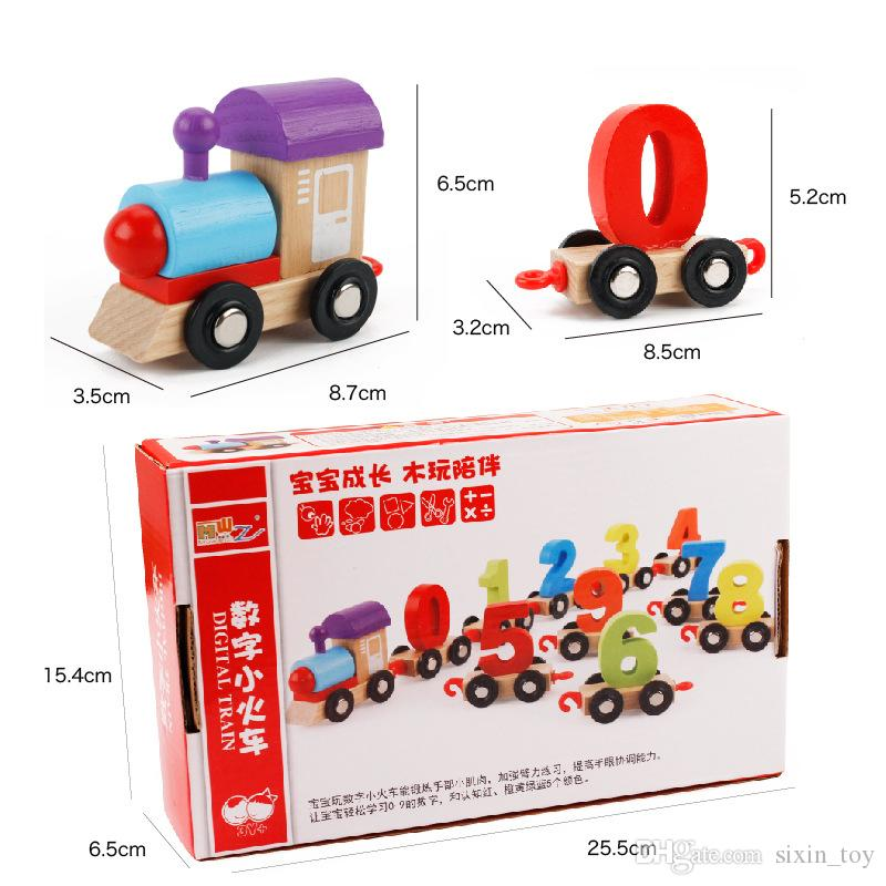 Baby Education Colorful Childrens Block Number Train Colorful Educational Puzzle Wooden Train Kids Assembly Puzzle Toys
