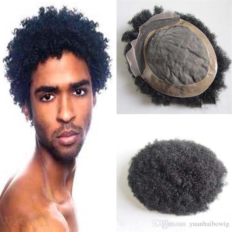 Acheter Hommes Cheveux Courts Cut 6inch Noir Couleur Dentelle De