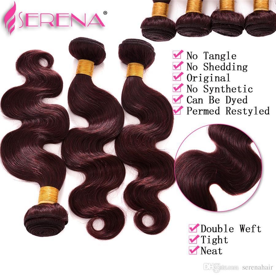 Nouveau Populaire Brésilien Vierge Cheveux Vague De Corps Extensions De Cheveux Couleur 99J Trame De Cheveux Humains Tissage Burgundy 4 Bundles par Paquet 10inch-30inch