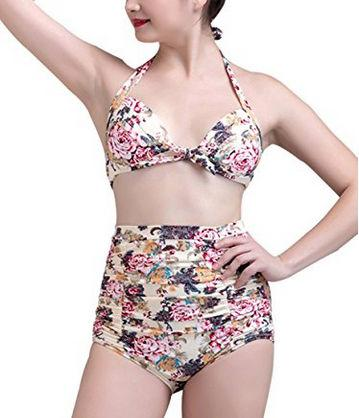 Peony Flower Swimwear Retro 50s Print Floral Halter Two-Piece High Waist Push Up Bikini Vintage Carnival Swimsuit