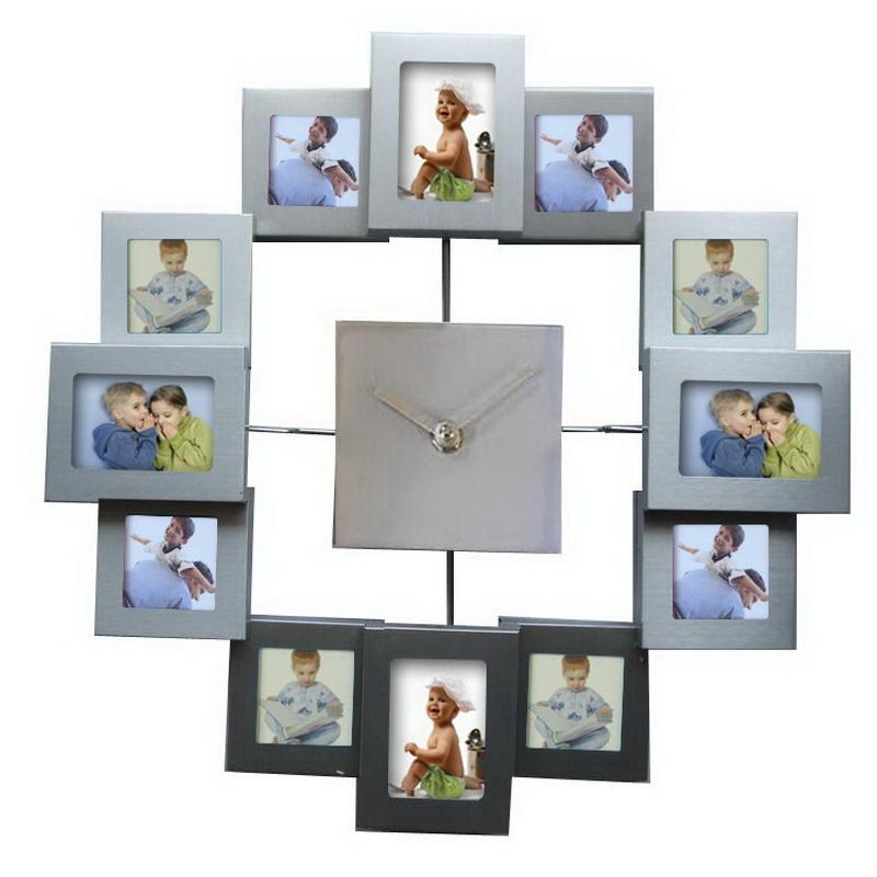 European Style Photo Frame Wall Clock Modern Design Watch Home ...