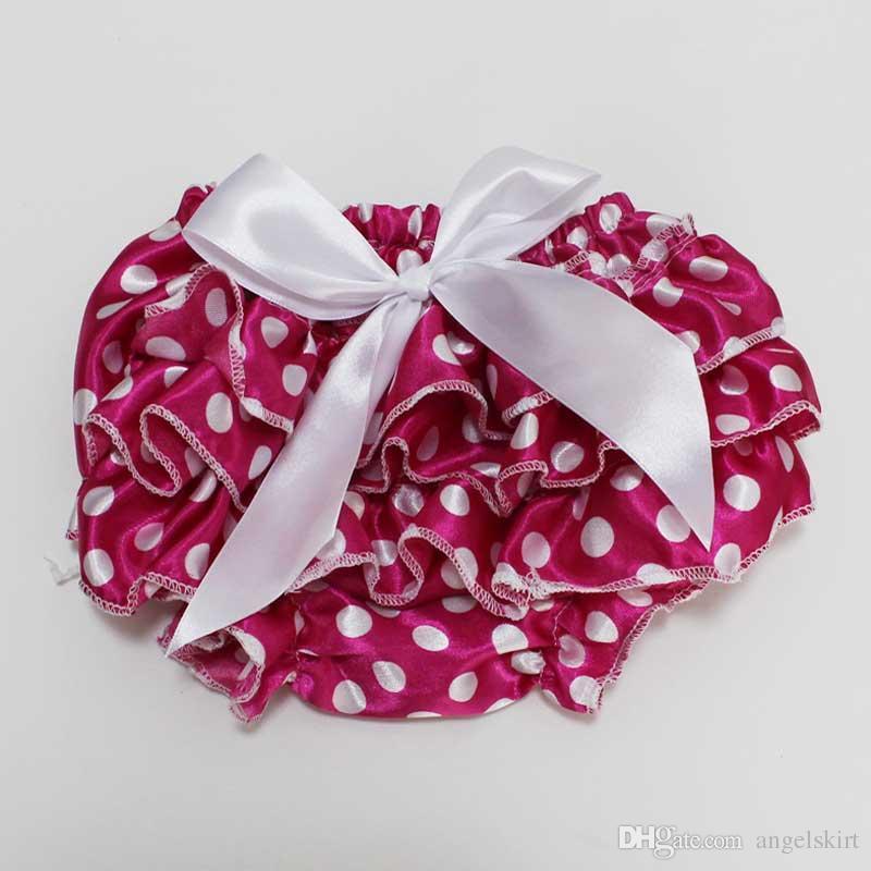 Baby Girls Newborn Infant Underwear Black Polka Dots Satin Shorts Pants Ruffle Bloomers