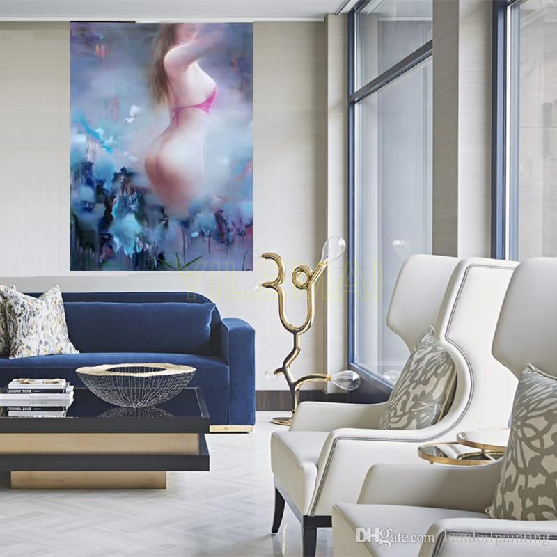 2019 Yi Le Mai Frameless Pure Hand Painted Modern Interior