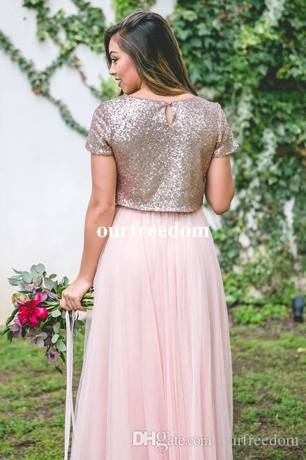 2019 Rose Gold Sequins Two Piece Bridesmaid Dresses Jewel Neck Short Sleeve Chiffon Floor Length Maid Of Honor Wedding Guest Gown Custom