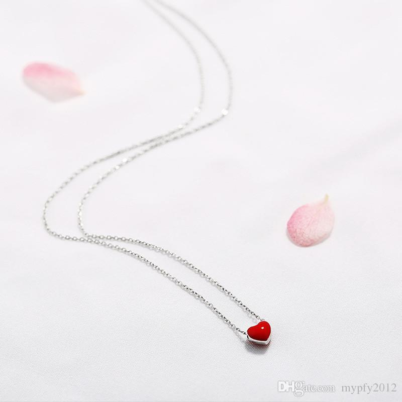 2017 New Design Silver Chain Necklace 8MM Cute Enamel Red Love Heart Pendant Necklace For Women GM