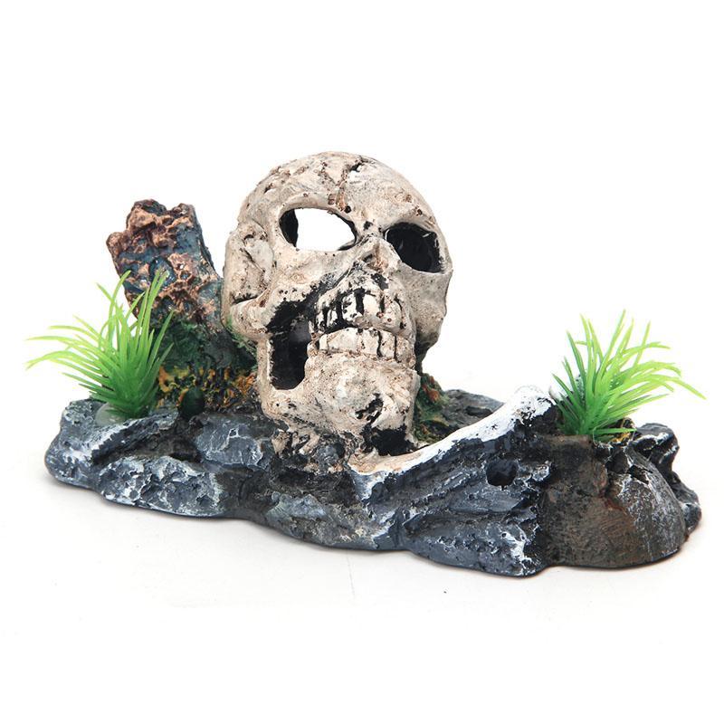 2019 Pirate Skull Skeleton Aquarium Ornament Hiding Cave