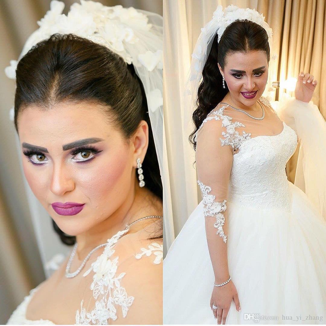 2016 Illusion Robes De Mariée De Mariage Plus Tailles Carré Robe De Bal Cour Train Dentelle Applique Manches Longues Robes De Mariage
