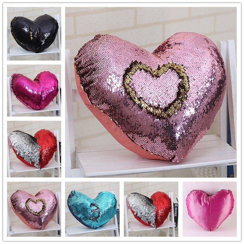 Doule Color Magic Reversible Mermaid Sequins Pillow Heart Shaped