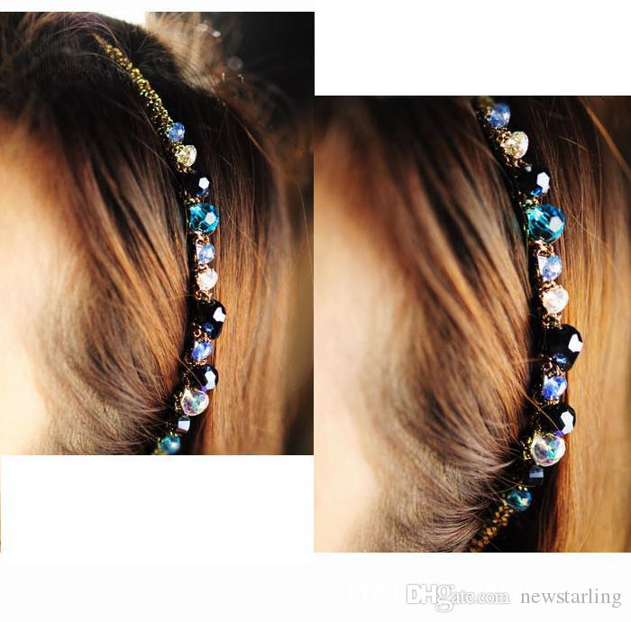 Fashion Bohemian Style Women Crystal Multicolor Gold Wire Head Hoop Hairpin Headband hair clip Accessories Girls Hair Ornaments Accessories