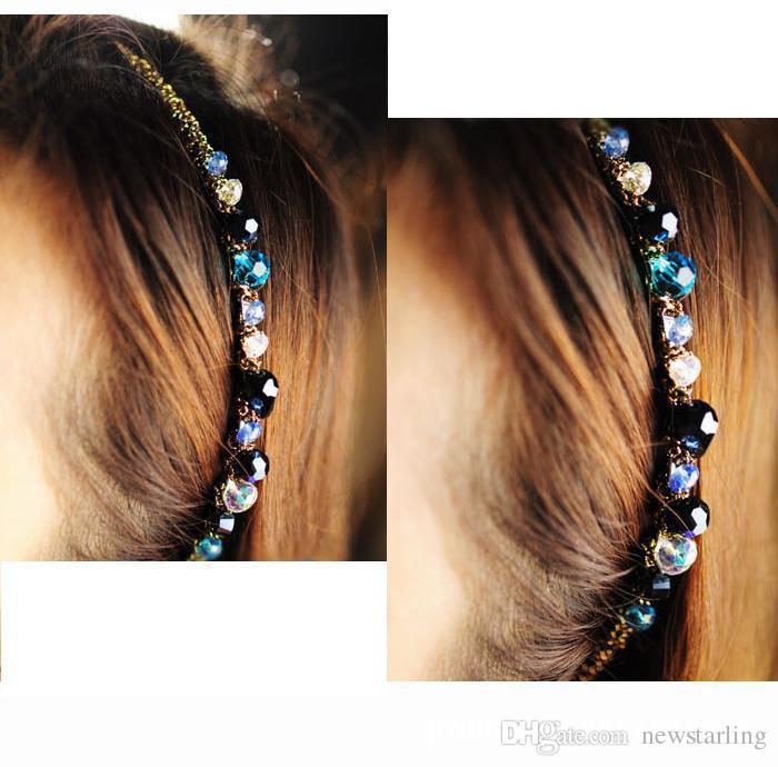 Mode Bohème Style Femmes Cristal Multicolore Or Fil Tête Cerceau Épingle À Cheveux Bandeau pince à cheveux Accessoires Filles Cheveux Ornements Accessoires
