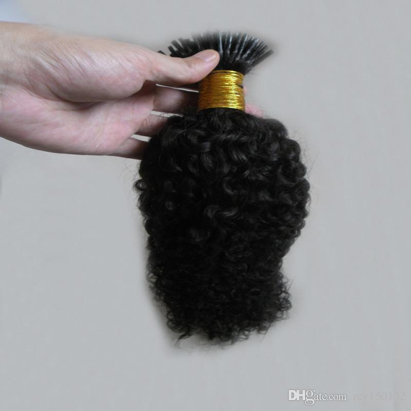 Moğol sapıkça kıvırcık saç Ben Ucu Saç Uzantıları 100g 100 s afro kinky kıvırcık Sopa Ucu Keratin 100% Remy İnsan Saç Uzantıları