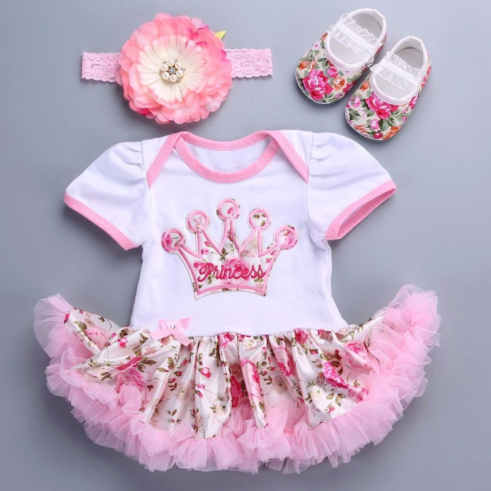 83ff78c81a 2019 Wholesale Baby Girl 2017 New Wedding Party Dresses Rosette Shoes Crown  Headband Set