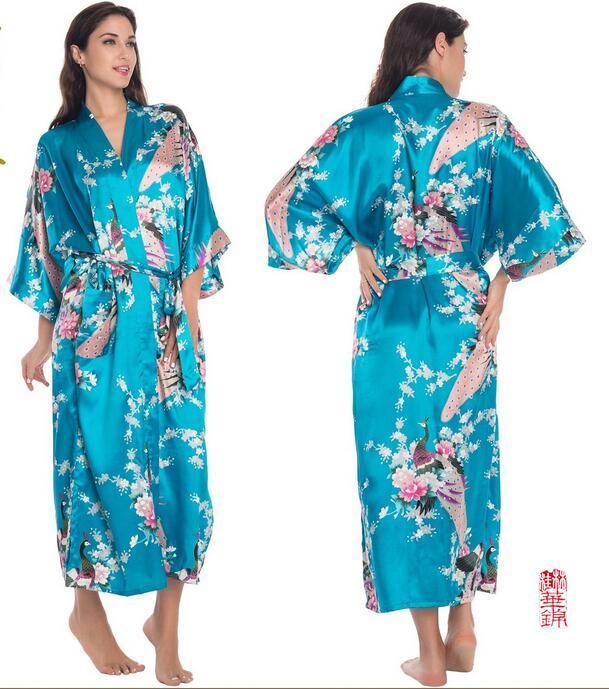 Hochzeitskleid Printed Lady Pyjamas Silk Kleider Sommer Nacht Robe Bunte Pfau Sleeping Robe japanischen Cardigans