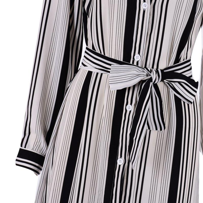 Black And White Striped Maxi Shirt Dress Long Elegant Maxi Party Dresses High Split Sexy Maxi Tie Waist Tunic Dress