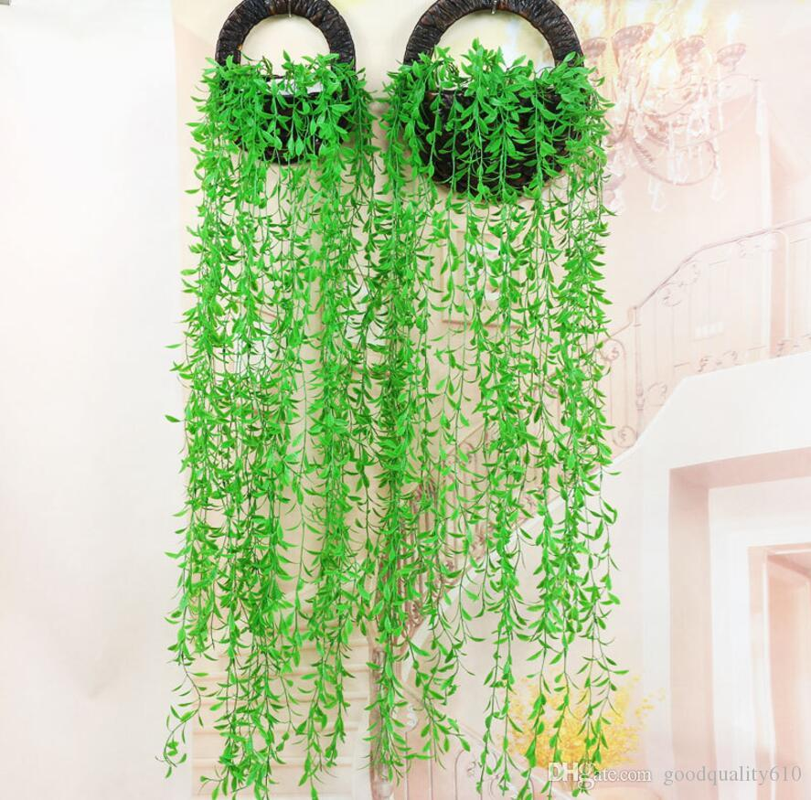Hanging Artificial Green Wicker Willow Wall Ivy Garland Vine Greenery For Wedding Home Office Bar Decorative