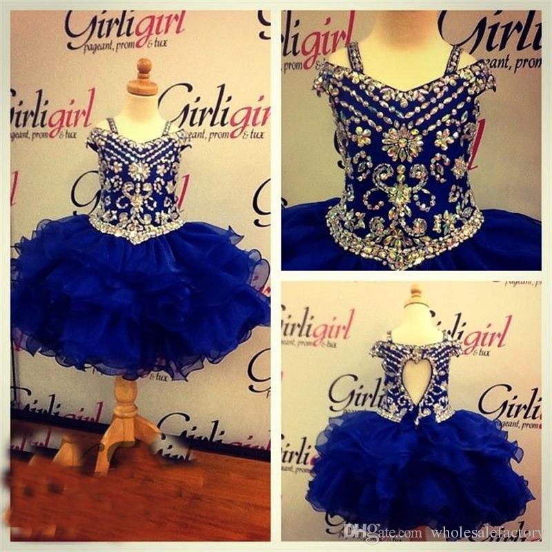 2017 Güzel Kraliyet Mavi Kızın Pageant Elbiseler Kristal Boncuklu Diz Boyu Doğum Günü Partisi Elbiseler Balo Prenses Parti Abiye