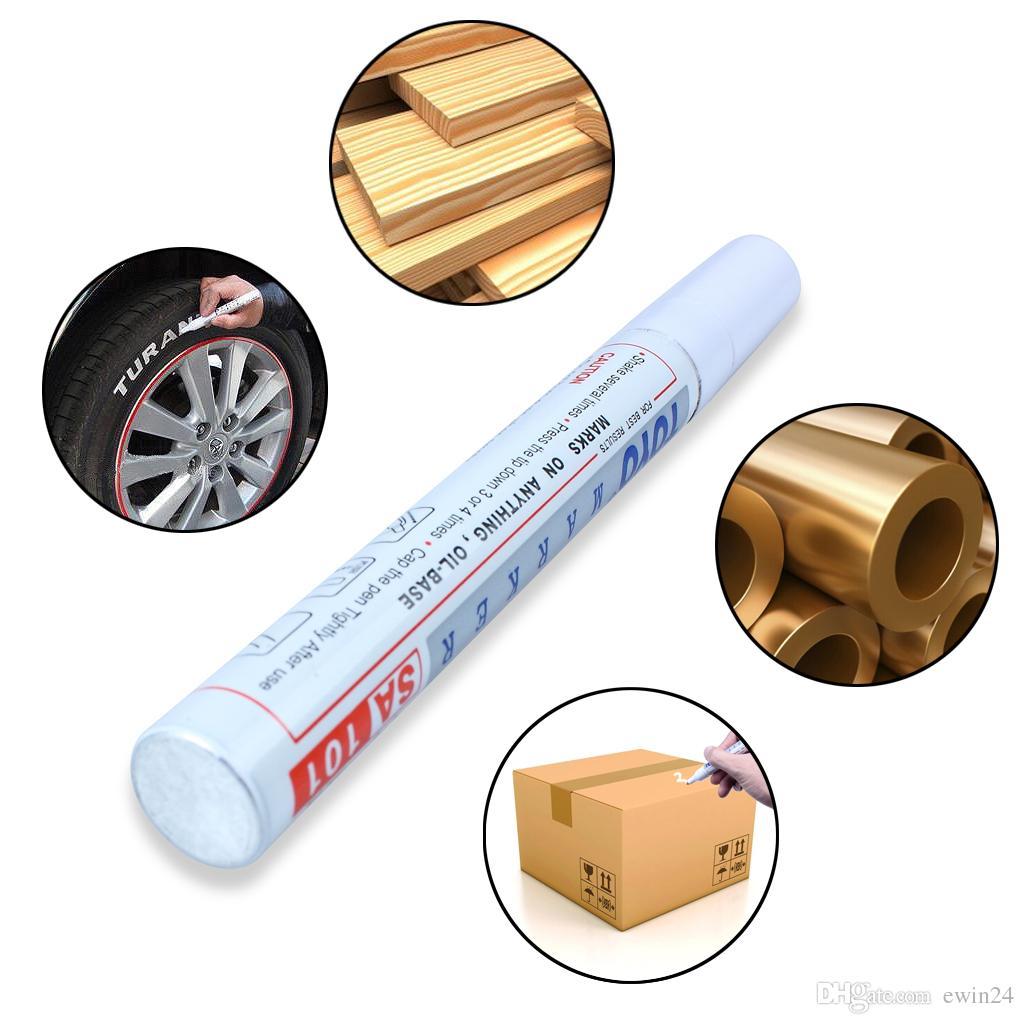 Pneu marqueur marqueur permanent peinture voiture pneus stylos universel imperméable bande de roulement en caoutchouc métal couleur blanc livraison gratuite navire