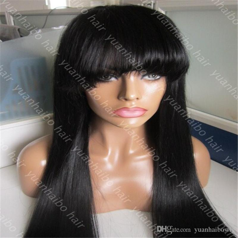 9A Grade Popular Honey Blonde Full Lace Wigs with bang 100 Brazilian Virgin Hair Human Hair Lace Front Wigs with fridge
