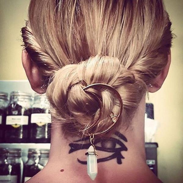 New Fashion Cresent Moon Quartz Hexagon Prism Charm Hairpin Hair Clips Gifts