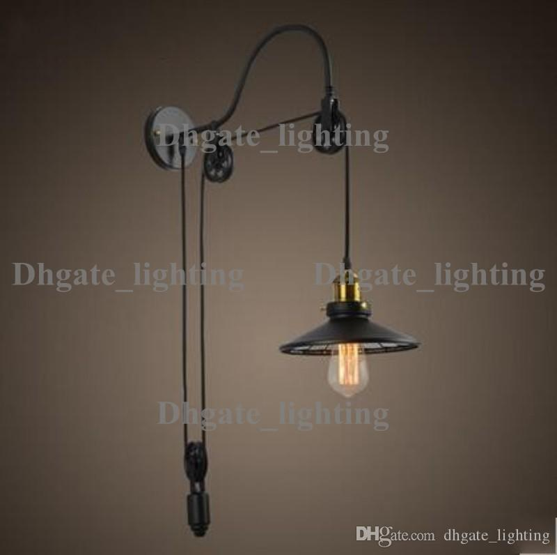 wall lamps for living room. 2018 Wall Lamps Industrail Vintage Lifting Style Lights Lighting For Living  Room Black Iron Lampshade Home Edison Bulb From Dhgate lighting