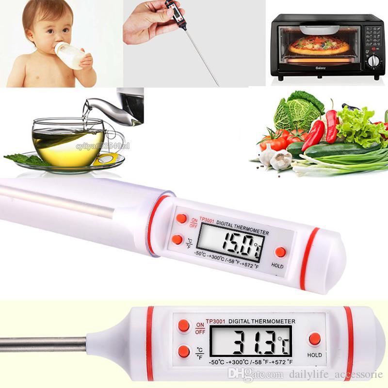 Carne Termómetro Cocina Cocina digital Sonda de alimentos Herramienta para el detector de temperatura de barbacoa electrónica para el hogar con embalaje al por menor