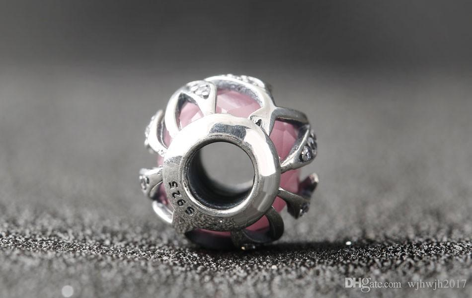 New Pink Crystal Faceted Nature's Radiance Charms Bead 925 Sterling Silver Beads For DIY Brand Bracelets Fashion Jewelry Accessories
