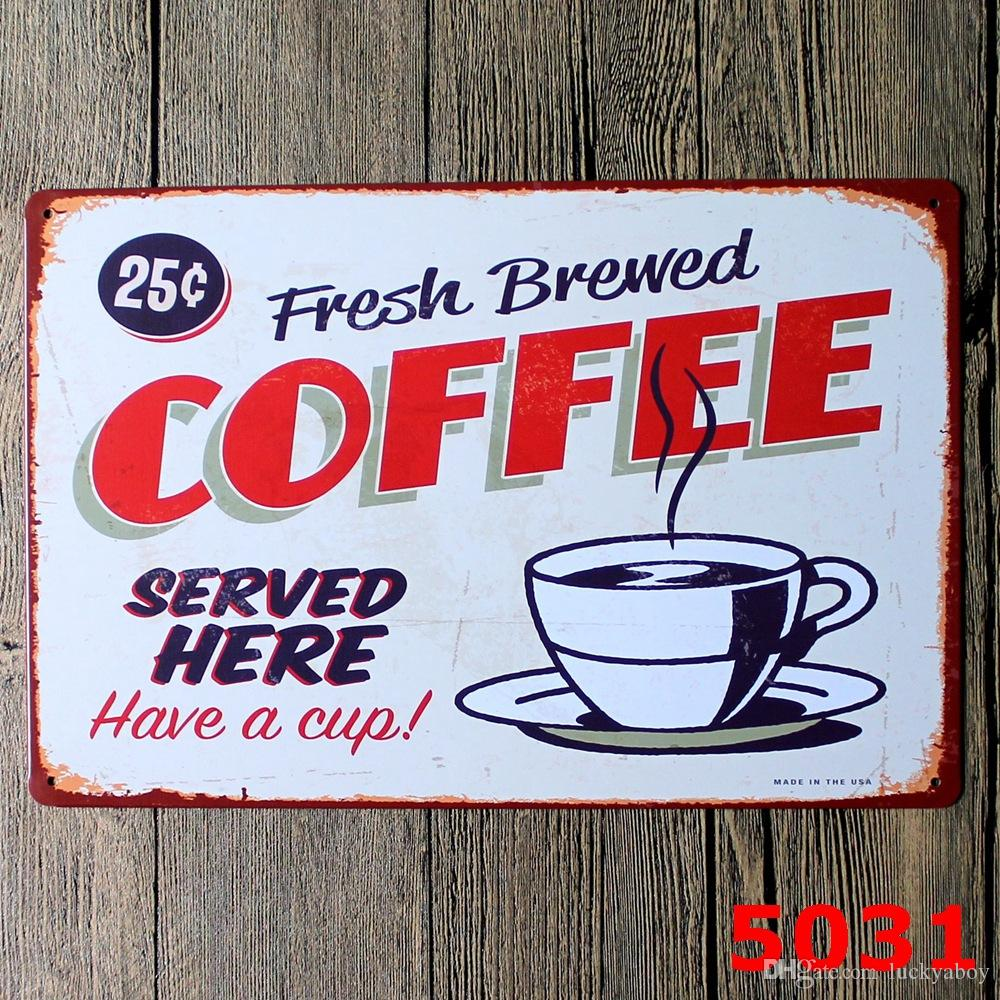 HOT COFFEE Poster Wall Decor Bar Home Vintage Craft Gift Art 12x8in Iron Painting Tin Poster Mixed designs