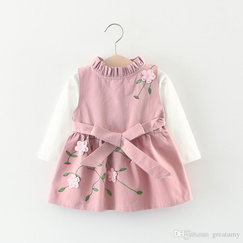 ce735ccb484e5 New design Korean baby girls dress kids autumn spring 3D embroidered flower  long sleeve dress 2pcs/set top quality