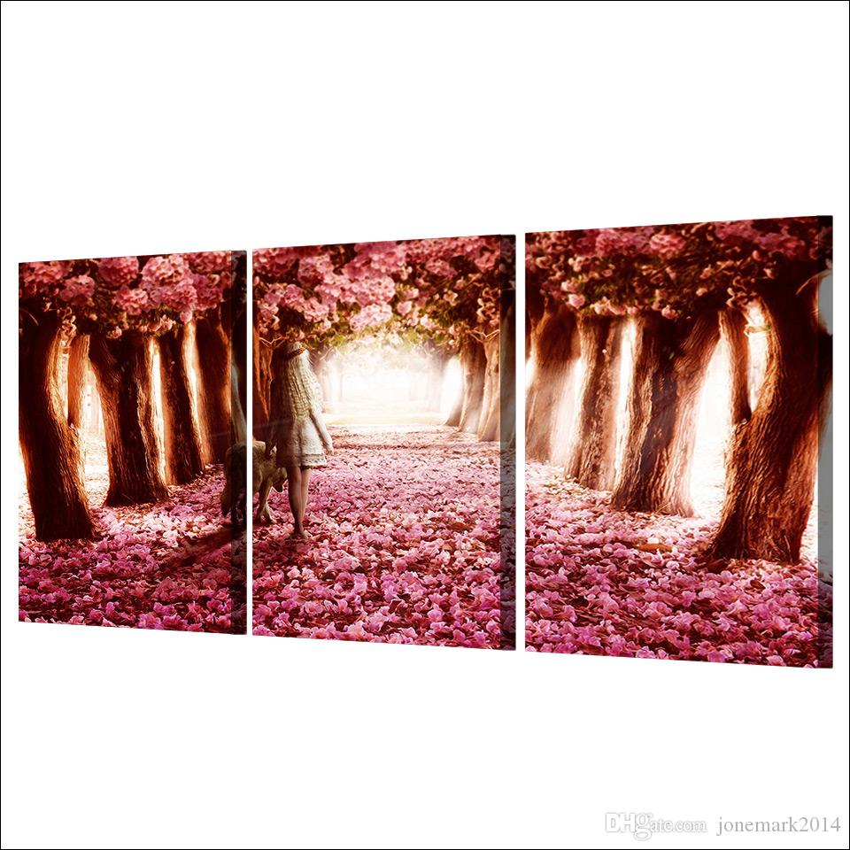 Cherry Blossoms Tree HD Printed Framed Canvas Picture Abstract Oil Painting Wall Decorations Living Room