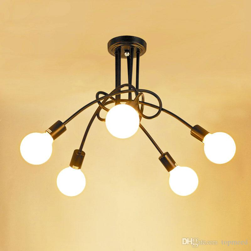 Vintage Ceiling Lights Modern Light Fixtures Led Lamps Home Lighting Metal  Lampshade Industrial Edison E27 Holder 3/5 Heads Lamp Large Pendant Light  Vintage ...