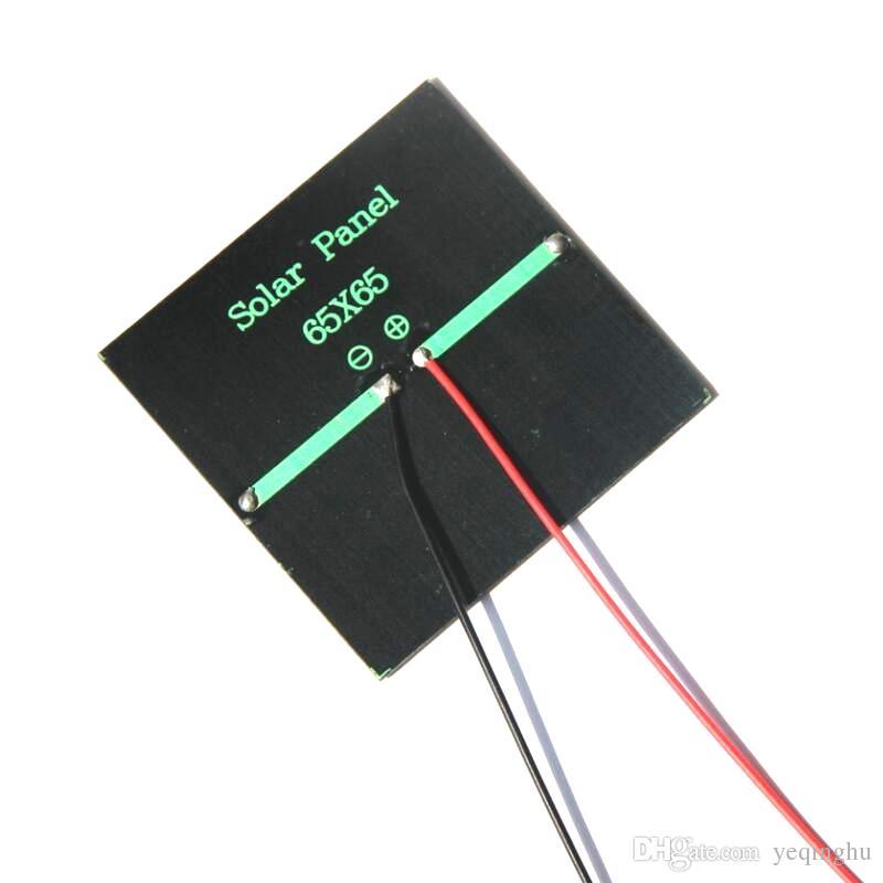 بالجملة! / الكثير الألواح الشمسية 5.5V خلية 0.6W الشمسية البسيطة 65x65MM على الطاقة الصغيرة Applianc لعبة Panle + 15CM كابل شحن مجاني